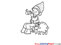 Shepherdess and Sheep Coloring Pages for free