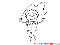 Skipping Rope for Kids printable Colouring Page