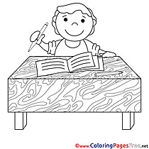 Student writes in a Notebook free Colouring Page download