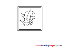 Sun with Umbrella Kids download Coloring Pages