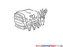 Towels and Vase for Kids printable Colouring Page