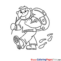 Traveler with Bag Kids free Coloring Page