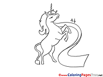 Unicorn Children download Colouring Page