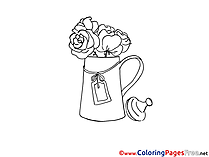 Vase with Roses for Children free Coloring Pages