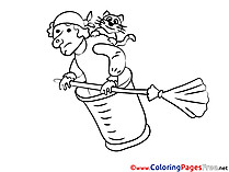 Witch printable Coloring Pages for free