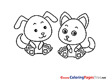 Cat Dog Children Coloring Pages free