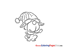 Hat Dog printable Coloring Sheets download