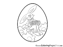 Accordion Bunny printable Coloring Pages Easter