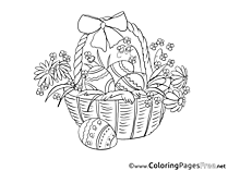 Basket with Eggs Children Easter Colouring Page