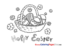 Basket with Eggs Easter free Coloring Pages