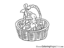Basket with Rabbit Easter Colouring Sheet free