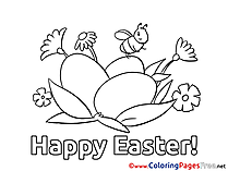 Bee sits on Egg download Easter Coloring Pages