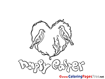 Birds in Heart free Colouring Page Easter