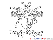 Birds with Egg Easter Coloring Pages free