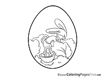 Bushes Hare Easter Coloring Pages free