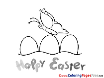 Butterfly Eggs Easter free Coloring Pages