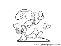 Butterfly Hare for Kids Easter Colouring Page