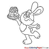 Cake Bunny Easter Colouring Sheet free
