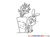 Carrot Hare download Easter Coloring Pages