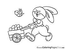 Cart Bunny for Kids Easter Colouring Page
