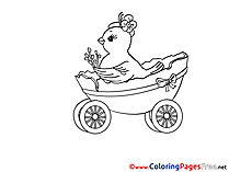 Cart Chicken Colouring Page Easter free