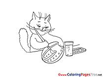 Cat paints Egg Easter Coloring Pages download
