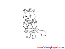 Cat with Eggs free Easter Coloring Sheets