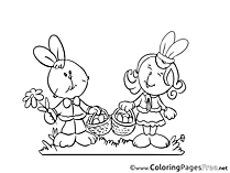 Couple Hares free Easter Coloring Sheets
