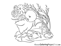 Cross Chicken Kids Easter Coloring Page