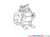 Fat Cat Easter Colouring Sheet free