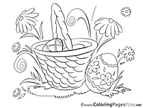 Flowers Basket Coloring Pages Easter