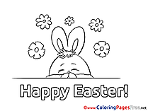 Flowers Bunny Coloring Pages Easter