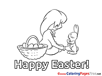 Girl with Hare free Easter Coloring Sheets
