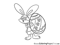 Glasses Rabbit Children Easter Colouring Page