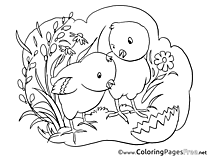 Grass Chickens Easter free Coloring Pages