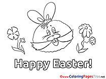 Happy Easter Children Easter Colouring Page