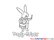 Hare with Drum Kids Easter Coloring Pages