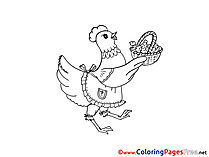Hen with Basket Kids Easter Coloring Page