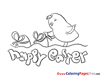 Holiday Chicken for Kids Easter Colouring Page