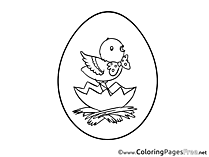 Kids Easter Coloring Page Chicken