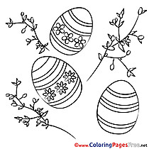 Kids Easter Eggs Coloring Page