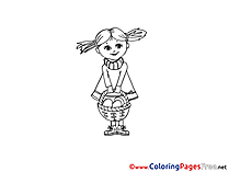 Little Girl with Basket Kids Easter Coloring Pages