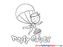 Parachutist with Eggs Kids Easter Coloring Page