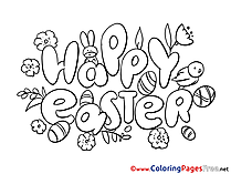 Party Kids Easter Coloring Page