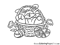 Rabbit in Basket free Colouring Page Easter