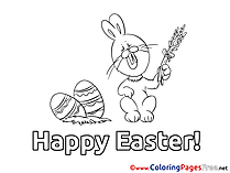 Rabbit with Wheat Easter free Coloring Pages