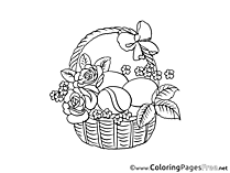 Roses in Basket Children Easter Colouring Page