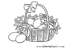 Roses in Basket Colouring Sheet download Easter