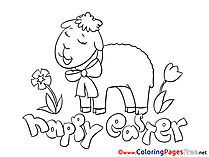 Sheep in Flowers Easter Coloring Pages download
