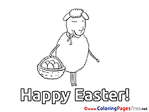 Sheep with Basket Coloring Sheets Easter free